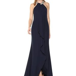 Calvin Klein Women's Halter Neck Gown Draped Front